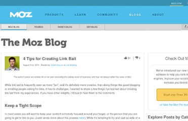http://www.seomoz.org/blog/4-tips-for-creating-link-bait
