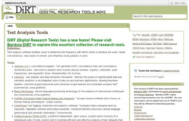 http://digitalresearchtools.pbworks.com/Text+Analysis+Tools