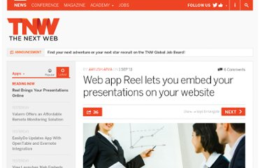 http://thenextweb.com/apps/2011/09/01/web-app-reel-lets-you-embed-your-presentations-on-your-website/