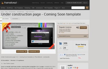 http://themeforest.net/item/under-construction-page-coming-soon-template/149029