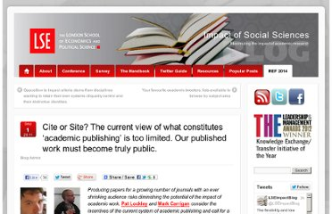 http://blogs.lse.ac.uk/impactofsocialsciences/2011/09/01/cite-or-site-academic-publishing/