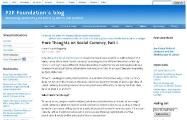http://blog.p2pfoundation.net/more-thoughts-on-social-currency-part-i/2011/09/01