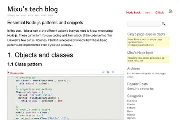 http://blog.mixu.net/2011/02/02/essential-node-js-patterns-and-snippets/
