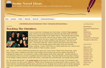 http://somenovelideas.typepad.com/some-novel-ideas/2009/12/teaching-the-outsiders.html