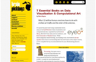 http://www.brainpickings.org/index.php/2011/06/30/best-books-data-visualization-computational-art/