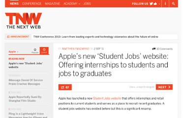 http://thenextweb.com/apple/2011/09/02/apples-new-student-jobs-website-offering-internships-to-students-and-jobs-to-graduates/