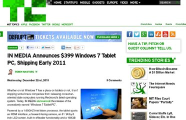 http://techcrunch.com/2010/12/22/in-media-announces-399-windows-7-tablet-pc-shipping-early-2011/