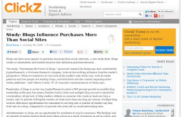 http://www.clickz.com/clickz/news/1697967/study-blogs-influence-purchases-more-than-social-sites