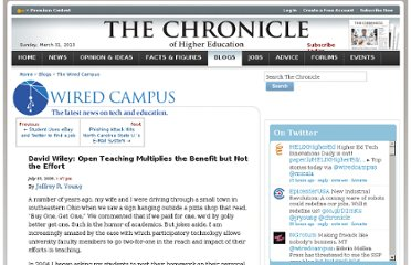 http://chronicle.com/blogs/wiredcampus/david-wiley-open-teaching-multiplies-the-benefit-but-not-the-effort/7271