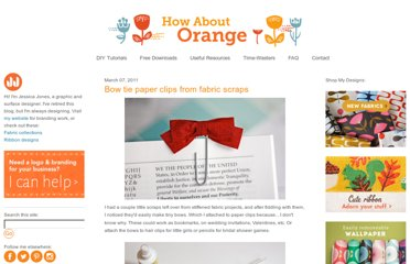http://howaboutorange.blogspot.com/2011/03/bow-tie-paper-clips-from-fabric-scraps.html