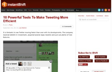 http://www.instantshift.com/2011/09/02/10-powerful-tools-to-make-tweeting-more-efficient/