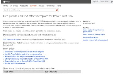 http://office.microsoft.com/en-us/powerpoint-help/free-picture-and-text-effects-template-for-powerpoint-2007-HA010338010.aspx