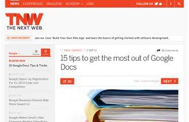 http://thenextweb.com/google/2011/09/02/15-tips-to-get-the-most-out-of-google-docs/