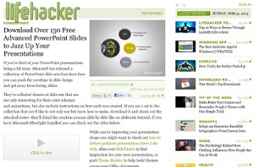 http://lifehacker.com/5459557/download-over-150-free-advanced-powerpoint-slides-to-jazz-up-your-presentations