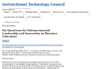 http://itcnetwork.org/component/content/article/48-library-articles-abstracts-research/385-six-questions-for-entrepreneurial-leadership-and-innovation-in-distance-education.html