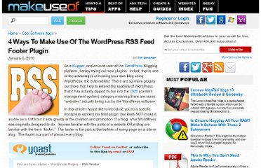 http://www.makeuseof.com/tag/4-ways-to-make-use-of-the-rss-footer-wordpress-plugin/