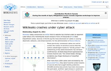 http://en.wikinews.org/wiki/Wikileaks_crashes_under_cyber_attack