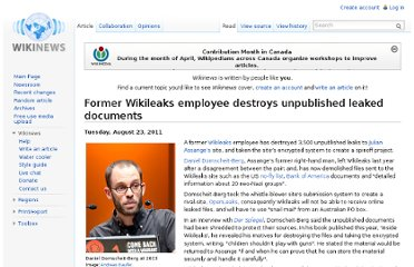 http://en.wikinews.org/wiki/Former_Wikileaks_employee_destroys_unpublished_leaked_documents