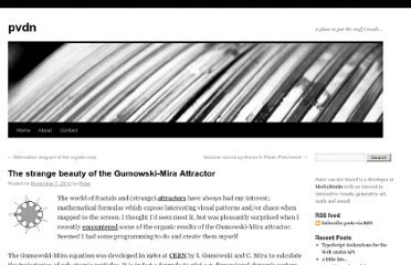 http://petervandernoord.nl/blog/2010/11/the-strange-beauty-of-the-gumowski-mira-attractor/