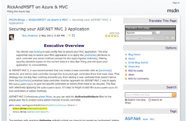 http://blogs.msdn.com/b/rickandy/archive/2011/05/02/securing-your-asp-net-mvc-3-application.aspx