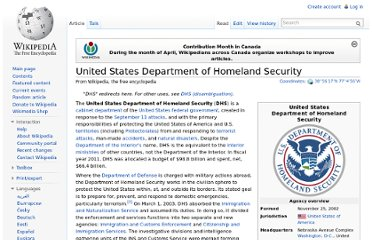 http://en.wikipedia.org/wiki/United_States_Department_of_Homeland_Security
