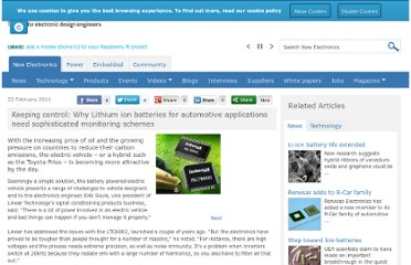 http://www.newelectronics.co.uk/electronics-technology/keeping-control-why-lithium-ion-batteries-for-automotive-applications-need-sophisticated-monitoring-schemes/31677/