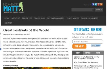 http://www.nomadicmatt.com/travel-blogs/great-festivals-of-the-world/