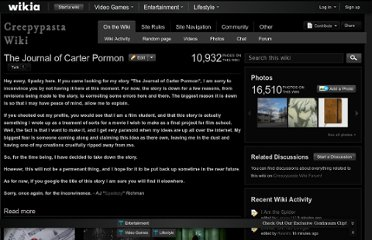 http://creepypasta.wikia.com/wiki/The_Journal_of_Carter_Pormon