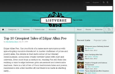 http://listverse.com/2008/07/28/top-10-creepiest-tales-of-edgar-allan-poe/