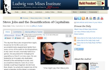 http://mises.org/daily/5613/Steve-Jobs-and-the-Beautification-of-Capitalism