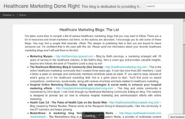 http://dandunlop.blogspot.com/2009/12/healthcare-marketing-blogs-list.html
