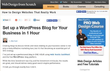 http://www.webdesignfromscratch.com/business/set-up-a-wordpress-blog-in-1-hour/