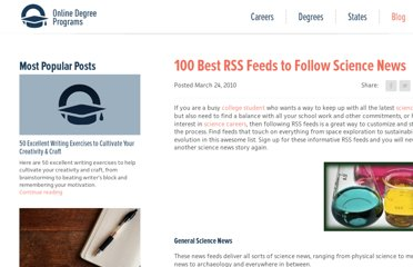 http://www.onlinedegreeprograms.com/blog/2010/100-best-rss-feeds-to-follow-science-news/