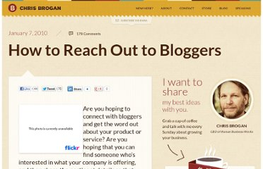 http://www.chrisbrogan.com/how-to-reach-out-to-bloggers/