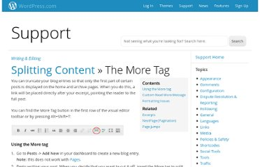 http://en.support.wordpress.com/splitting-content/more-tag/