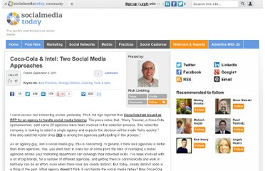 http://socialmediatoday.com/rickliebling/349863/coca-cola-intel-two-social-media-approaches