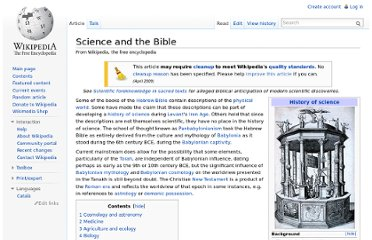 http://en.wikipedia.org/wiki/Science_and_the_Bible
