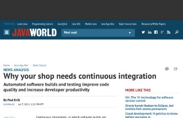 http://www.javaworld.com/javaworld/jw-07-2011/110707-continuous-integration.html