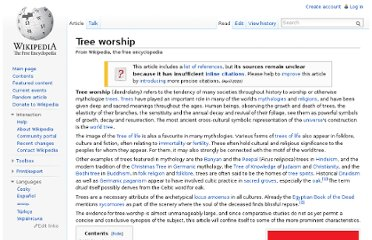 http://en.wikipedia.org/wiki/Tree_worship