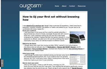 http://aurgasm.us/2006/07/how-to-dj-your-first-set-without-knowing-how/