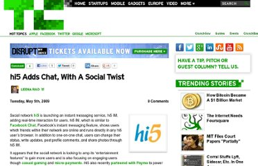 http://techcrunch.com/2009/05/05/hi5-adds-chat-with-a-social-twist/