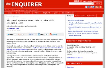 http://www.theinquirer.net/inquirer/news/2083745/microsoft-sources-code-calm-wifi-snooping-fears