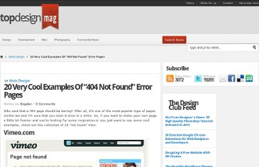 http://www.topdesignmag.com/20-very-cool-examples-of-404-not-found-error-pages/