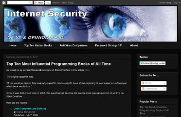 http://www.internetsecuritydb.com/2011/09/top-ten-most-influential-programming.html