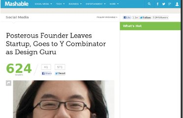 http://mashable.com/2011/01/14/posterous-founder-leaves-startup-goes-to-y-combinator-as-design-guru/