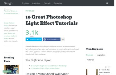 http://www.designshard.com/video-tutorials/16-great-photoshop-light-effect-tutorials/