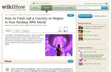 http://www.wikihow.com/Flesh-out-a-Country-or-Region-in-Your-Fantasy-RPG-World