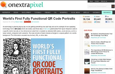 http://www.onextrapixel.com/2011/09/05/worlds-first-fully-functional-qr-code-portraits/