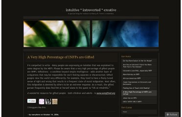 http://nancyfenn.wordpress.com/2006/10/14/a-very-high-percentage-of-infps-are-gifted/