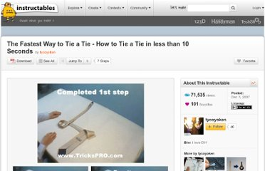 http://www.instructables.com/id/The-Fastest-Way-to-Tie-a-Tie---How-to-Tie-a-Tie-in/